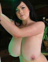 Rachel Aldana poses in silvery top and bra
