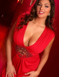 Amber Campisi in a sexy low cut red dress